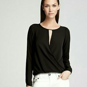 Theory Aija Black Silk Blouse Top